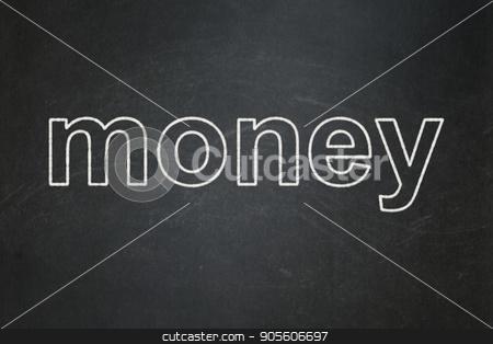 Money concept: Money on chalkboard background stock photo, Money concept: text Money on Black chalkboard background by mkabakov