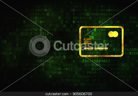 Currency concept: Credit Card on digital background stock photo, Currency concept: pixelated Credit Card icon on digital background, empty copyspace for card, text, advertising by mkabakov