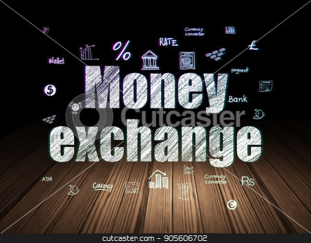 Banking concept: Money Exchange in grunge dark room stock photo, Banking concept: Glowing text Money Exchange,  Hand Drawn Finance Icons in grunge dark room with Wooden Floor, black background by mkabakov