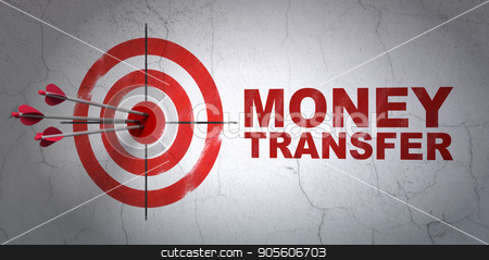 Money concept: target and Money Transfer on wall background stock photo, Success money concept: arrows hitting the center of target, Red Money Transfer on wall background, 3D rendering by mkabakov