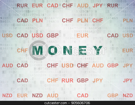 Money concept: Money on Digital Data Paper background stock photo, Money concept: Painted green text Money on Digital Data Paper background with Currency by mkabakov