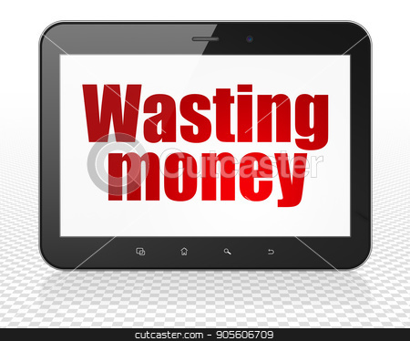 Money concept: Tablet Pc Computer with Wasting Money on display stock photo, Money concept: Tablet Pc Computer with red text Wasting Money on display, 3D rendering by mkabakov