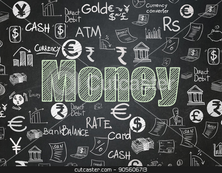 Currency concept: Money on School board background stock photo, Currency concept: Chalk Green text Money on School board background with  Hand Drawn Finance Icons, School Board by mkabakov