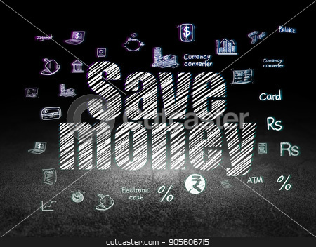 Banking concept: Save Money in grunge dark room stock photo, Banking concept: Glowing text Save Money,  Hand Drawn Finance Icons in grunge dark room with Dirty Floor, black background by mkabakov