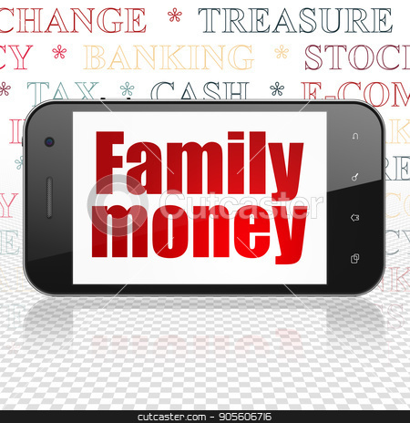 Money concept: Smartphone with Family Money on display stock photo, Money concept: Smartphone with  red text Family Money on display,  Tag Cloud background, 3D rendering by mkabakov