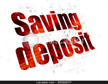 Money concept: Saving Deposit on Digital background stock photo, Money concept: Pixelated red text Saving Deposit on Digital background by mkabakov