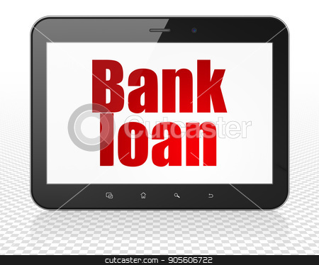 Banking concept: Tablet Pc Computer with Bank Loan on display stock photo, Banking concept: Tablet Pc Computer with red text Bank Loan on display, 3D rendering by mkabakov