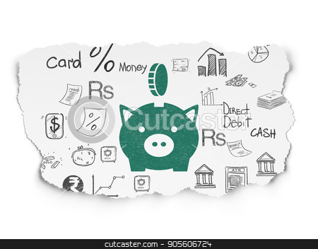 Currency concept: Money Box With Coin on Torn Paper background stock photo, Currency concept: Painted green Money Box With Coin icon on Torn Paper background with  Hand Drawn Finance Icons by mkabakov