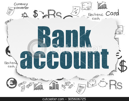 Currency concept: Bank Account on Torn Paper background stock photo, Currency concept: Painted blue text Bank Account on Torn Paper background with  Hand Drawn Finance Icons by mkabakov