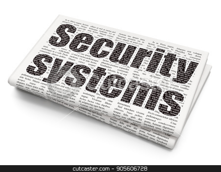 Safety concept: Security Systems on Newspaper background stock photo, Safety concept: Pixelated black text Security Systems on Newspaper background, 3D rendering by mkabakov