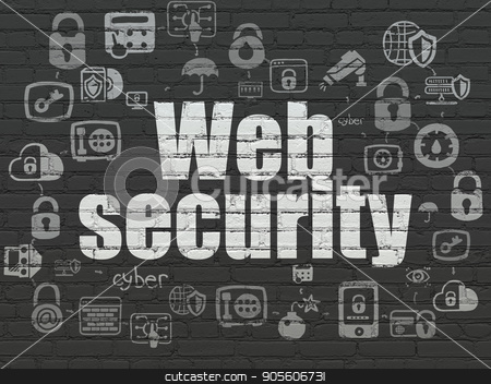 Protection concept: Web Security on wall background stock photo, Protection concept: Painted white text Web Security on Black Brick wall background with Scheme Of Hand Drawn Security Icons by mkabakov