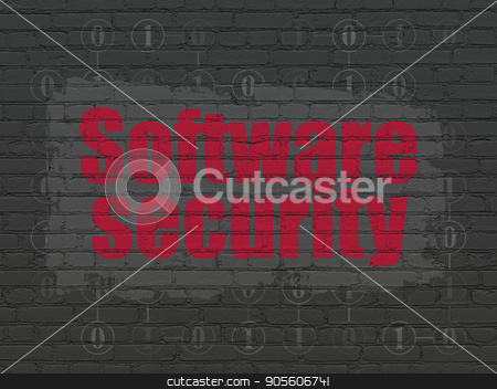 Privacy concept: Software Security on wall background stock photo, Privacy concept: Painted red text Software Security on Black Brick wall background with Scheme Of Binary Code by mkabakov