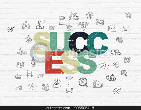 Finance concept: Success on wall background stock photo, Finance concept: Painted multicolor text Success on White Brick wall background with  Hand Drawn Business Icons by mkabakov