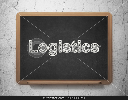 Finance concept: Logistics on chalkboard background stock photo, Finance concept: text Logistics on Black chalkboard on grunge wall background, 3D rendering by mkabakov