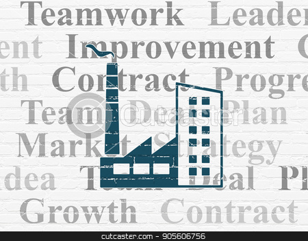 Business concept: Industry Building on wall background stock photo, Business concept: Painted blue Industry Building icon on White Brick wall background with  Tag Cloud by mkabakov