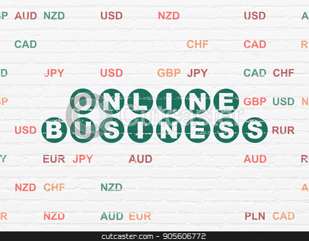 Finance concept: Online Business on wall background stock photo, Finance concept: Painted green text Online Business on White Brick wall background with Currency by mkabakov