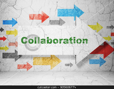 Business concept: arrow with Collaboration on grunge wall background stock photo, Business concept:  arrow with Collaboration on grunge textured concrete wall background, 3D rendering by mkabakov
