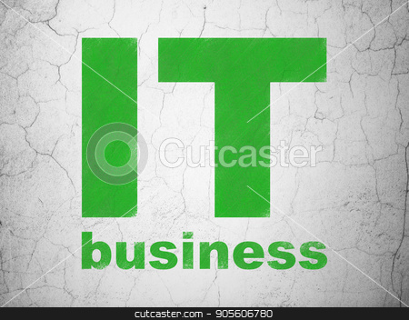 Business concept: IT Business on wall background stock photo, Business concept: Green IT Business on textured concrete wall background by mkabakov