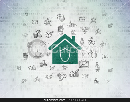 Finance concept: Home on Digital Data Paper background stock photo, Finance concept: Painted green Home icon on Digital Data Paper background with  Hand Drawn Business Icons by mkabakov