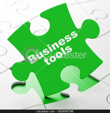 Business concept: Business Tools on puzzle background stock photo, Business concept: Business Tools on Green puzzle pieces background, 3D rendering by mkabakov
