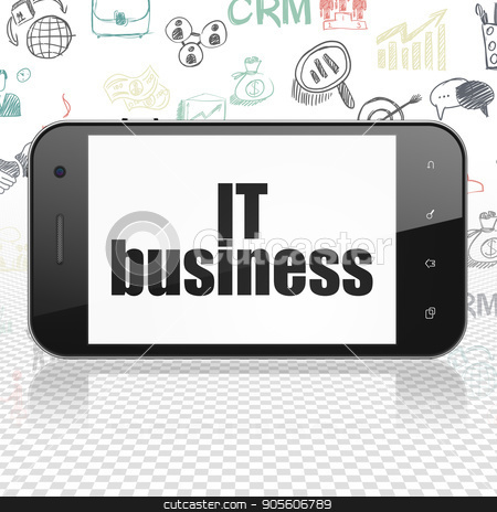 Business concept: Smartphone with IT Business on display stock photo, Business concept: Smartphone with  black text IT Business on display,  Hand Drawn Business Icons background, 3D rendering by mkabakov