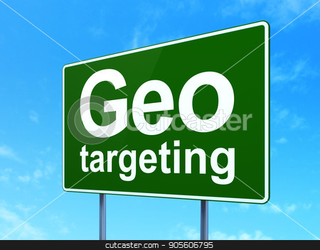 Business concept: Geo Targeting on road sign background stock photo, Business concept: Geo Targeting on green road highway sign, clear blue sky background, 3D rendering by mkabakov