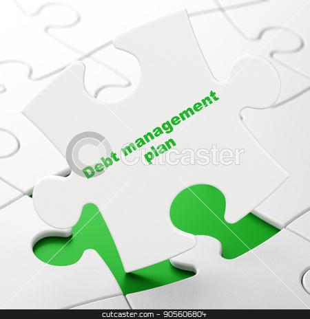Business concept: Debt Management Plan on puzzle background stock photo, Business concept: Debt Management Plan on White puzzle pieces background, 3D rendering by mkabakov