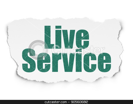 Finance concept: Live Service on Torn Paper background stock photo, Finance concept: Painted green text Live Service on Torn Paper background with  Binary Code by mkabakov