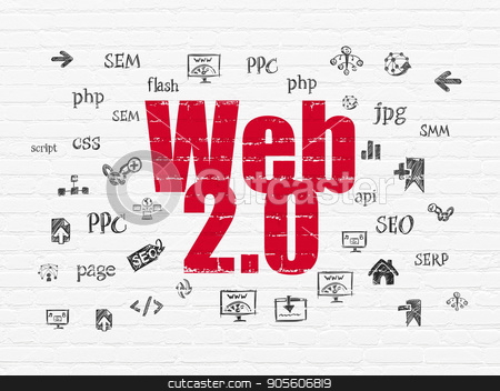 Web design concept: Web 2.0 on wall background stock photo, Web design concept: Painted red text Web 2.0 on White Brick wall background with  Hand Drawn Site Development Icons by mkabakov