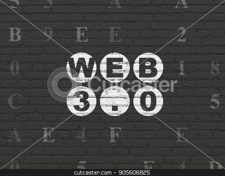 Web design concept: Web 3.0 on wall background stock photo, Web design concept: Painted white text Web 3.0 on Black Brick wall background with Hexadecimal Code by mkabakov
