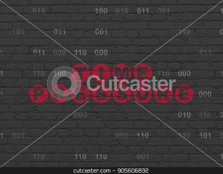 Time concept: Time Pressure on wall background stock photo, Time concept: Painted red text Time Pressure on Black Brick wall background with Binary Code by mkabakov