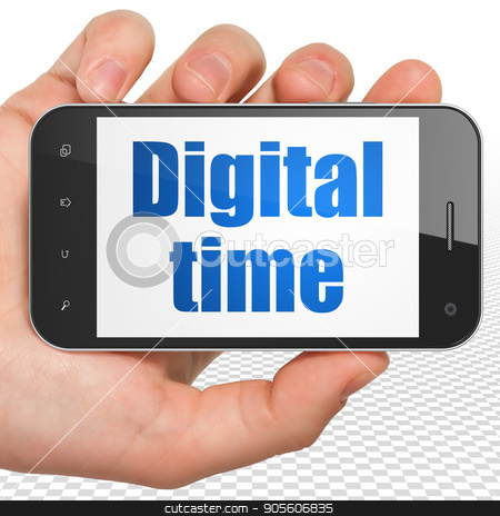 Timeline concept: Hand Holding Smartphone with Digital Time on display stock photo, Timeline concept: Hand Holding Smartphone with blue text Digital Time on display, 3D rendering by mkabakov