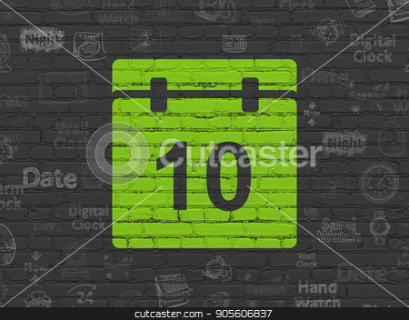 Time concept: Calendar on wall background stock photo, Time concept: Painted green Calendar icon on Black Brick wall background with  Hand Drawing Time Icons by mkabakov