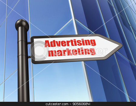 Advertising concept: sign Advertising Marketing on Building background stock photo, Advertising concept: sign Advertising Marketing on Building background, 3D rendering by mkabakov