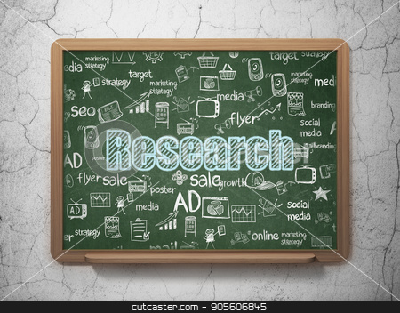 Advertising concept: Research on School board background stock photo, Advertising concept: Chalk Blue text Research on School board background with  Hand Drawn Marketing Icons, 3D Rendering by mkabakov