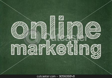 Advertising concept: Online Marketing on chalkboard background stock photo, Advertising concept: text Online Marketing on Green chalkboard background by mkabakov