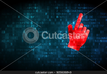 Marketing concept: Mouse Cursor on digital background stock photo, Marketing concept: pixelated Mouse Cursor icon on digital background, empty copyspace for card, text, advertising by mkabakov