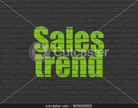 Advertising concept: Sales Trend on wall background stock photo, Advertising concept: Painted green text Sales Trend on Black Brick wall background by mkabakov