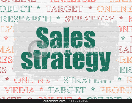 Marketing concept: Sales Strategy on wall background stock photo, Marketing concept: Painted green text Sales Strategy on White Brick wall background with  Tag Cloud by mkabakov