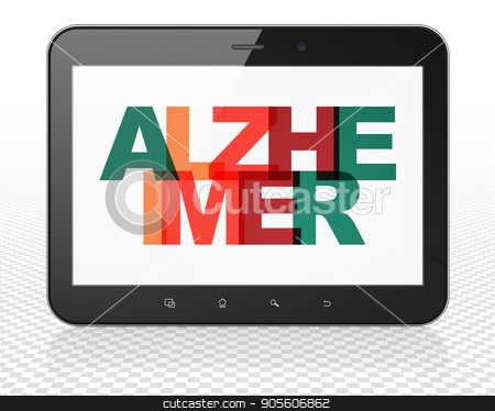 Healthcare concept: Tablet Pc Computer with Alzheimer on  display stock photo, Healthcare concept: Tablet Pc Computer with Painted multicolor text Alzheimer on display, 3D rendering by mkabakov