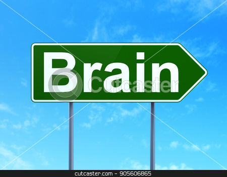 Medicine concept: Brain on road sign background stock photo, Medicine concept: Brain on green road highway sign, clear blue sky background, 3D rendering by mkabakov
