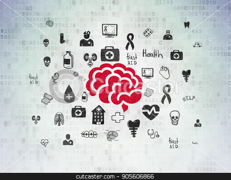 Health concept: Brain on Digital Data Paper background stock photo, Health concept: Painted red Brain icon on Digital Data Paper background with  Hand Drawn Medicine Icons by mkabakov