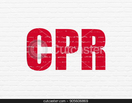 Health concept: CPR on wall background stock photo, Health concept: Painted red text CPR on White Brick wall background by mkabakov
