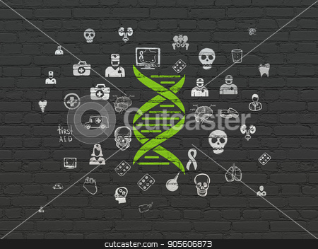 Healthcare concept: DNA on wall background stock photo, Healthcare concept: Painted green DNA icon on Black Brick wall background with  Hand Drawn Medicine Icons by mkabakov