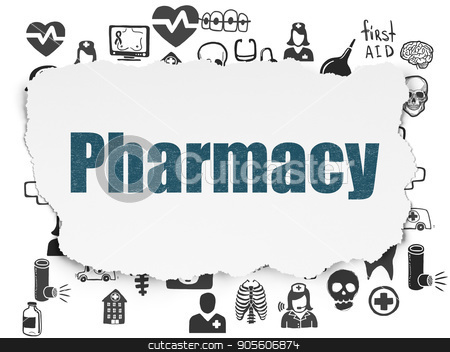 Healthcare concept: Pharmacy on Torn Paper background stock photo, Healthcare concept: Painted blue text Pharmacy on Torn Paper background with  Hand Drawn Medicine Icons by mkabakov