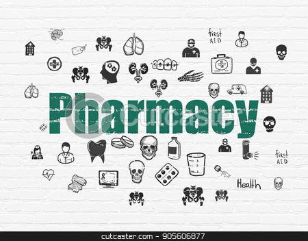 Health concept: Pharmacy on wall background stock photo, Health concept: Painted green text Pharmacy on White Brick wall background with  Hand Drawn Medicine Icons by mkabakov