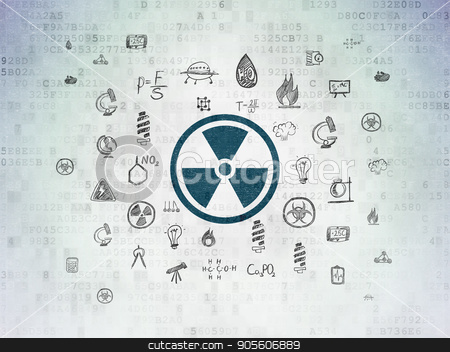 Science concept: Radiation on Digital Data Paper background stock photo, Science concept: Painted blue Radiation icon on Digital Data Paper background with  Hand Drawn Science Icons by mkabakov