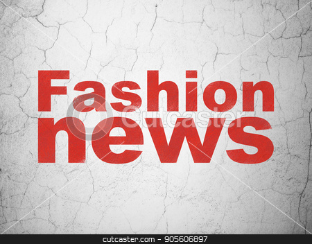 News concept: Fashion News on wall background stock photo, News concept: Red Fashion News on textured concrete wall background by mkabakov