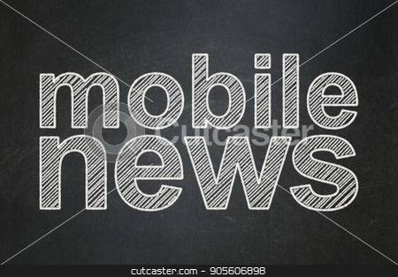 News concept: Mobile News on chalkboard background stock photo, News concept: text Mobile News on Black chalkboard background by mkabakov