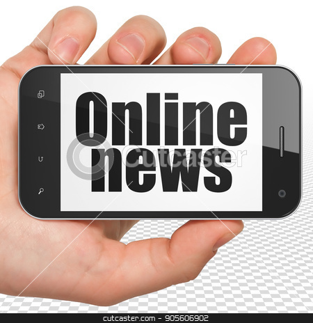 News concept: Hand Holding Smartphone with Online News on display stock photo, News concept: Hand Holding Smartphone with black text Online News on display, 3D rendering by mkabakov